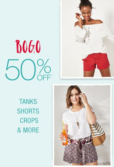 BOGO 50% off Tanks, Shorts, Crops & More from maurices