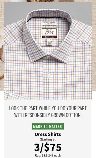 Dress Shirts Starting at 3 for $75 from Jos. A. Bank