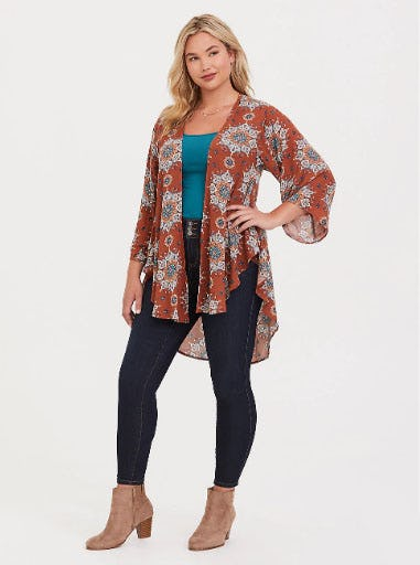 Brown Medallion Crepe Kimono from Torrid