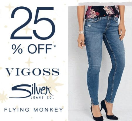 25% Off Vigoss & Silver Jeans from maurices