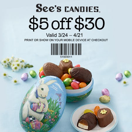 $5 off $30 from See's Candies