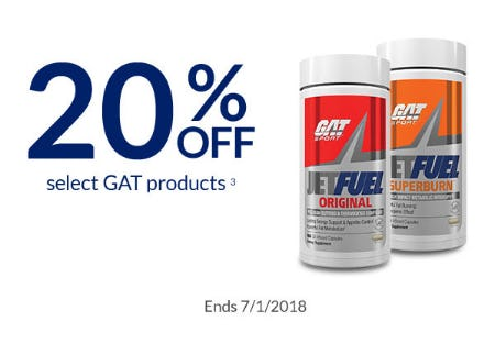 20% Off Select GAT Products from The Vitamin Shoppe