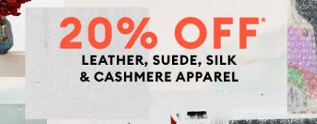 20% Off Leather, Suede, Silk & Cashmere Apparel from Banana Republic