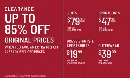 Clearance up to 85% Off Original Prices from Jos. A. Bank