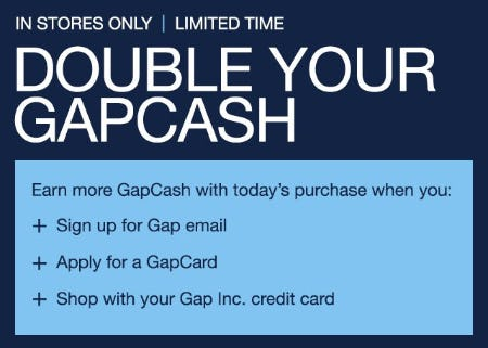 Double Your GapCash from Gap
