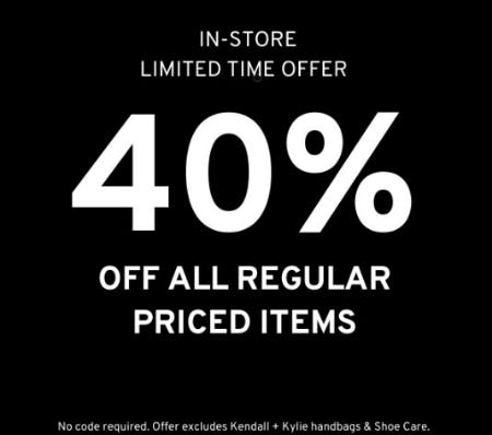 40% Off All Regular Priced Items