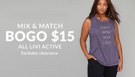 BOGO $15 All LIVI Active from Lane Bryant