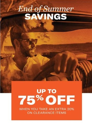 End of Summer Savings: Up to 75% Off