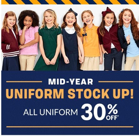 All Uniform 30% Off from The Children's Place