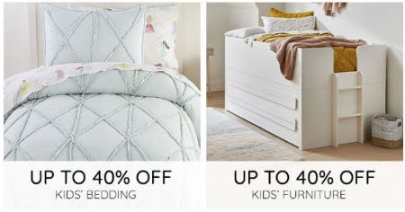 Up to 40% Off Kids' Bedding and Kids' Furniture from Pottery Barn Kids