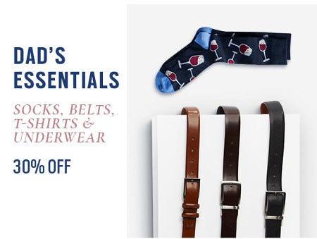30% Off Socks, Belts, T-Shirts & Underwear from Men's Wearhouse