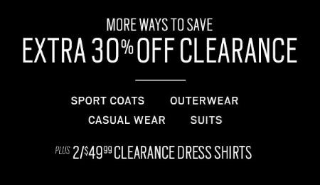 Extra 30% Off Clearance from Men's Wearhouse and Tux
