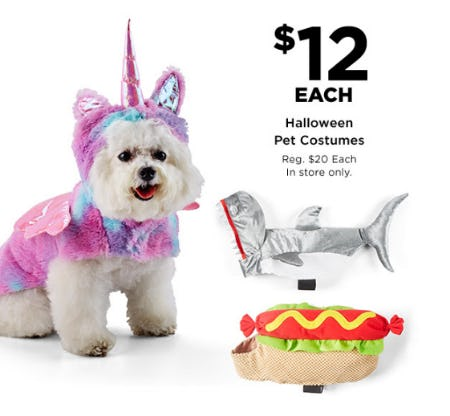 Halloween Pet Costumes at $12 Each from Michaels