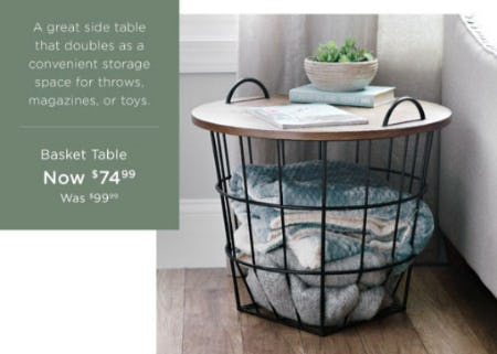 Basket Table Now $74.99 from Kirkland's