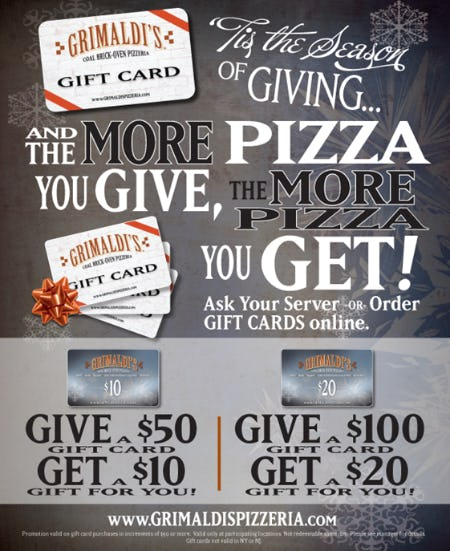Holiday Bonus Card Promotion from Grimaldi's Coal Brick Oven Pizzeria