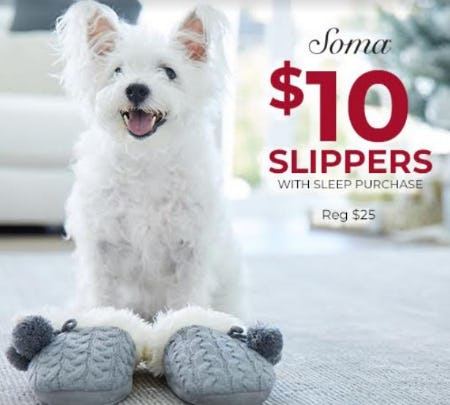 $10 Slippers from Soma Intimates
