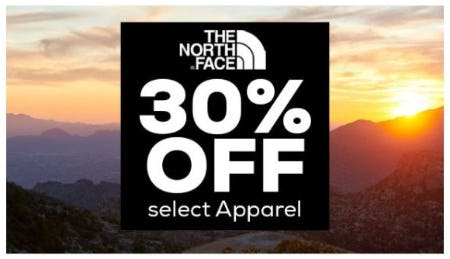 30% Off Select The North Face Apparel