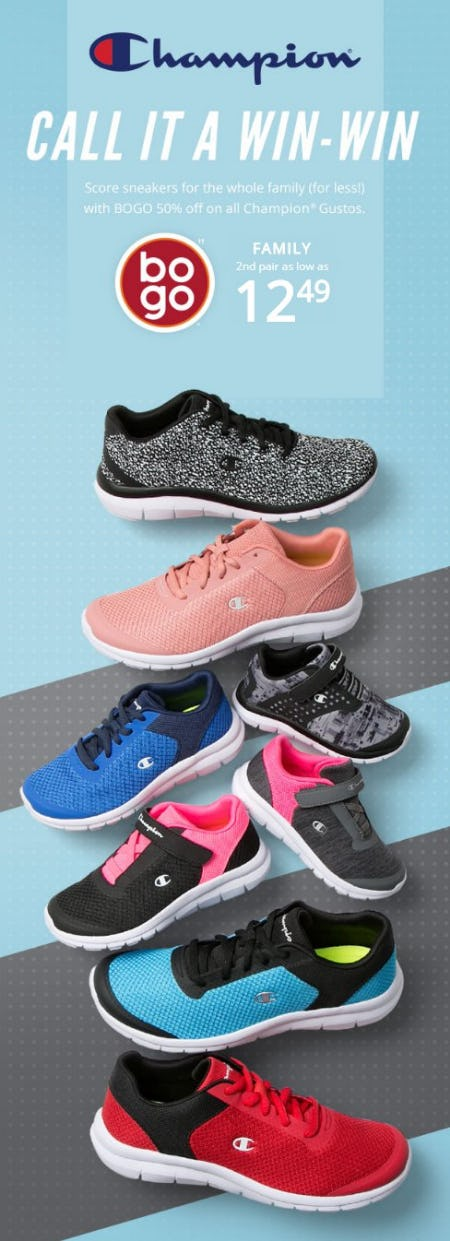 BOGO 50% Off on All Champion Gustos from Payless ShoeSource