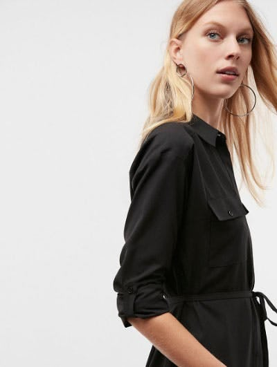 Long Sleeve Pocket Shirt Dress
