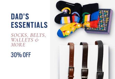 30% Off Socks, Belts, Wallets & More from Men's Wearhouse