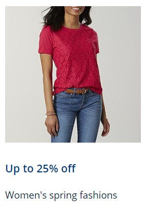 Up to 25% Off Women's Spring Fashions from Sears