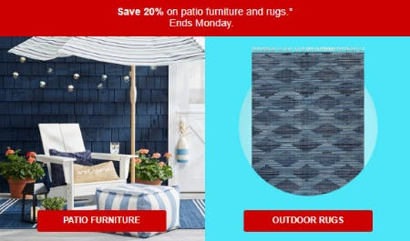 20% Off Patio Furniture & Rugs
