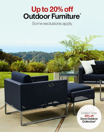 Up to 20% Off Outdoor Furniture from Crate & Barrel