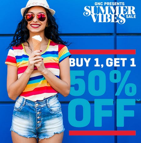 Summer Vibes Sale: Buy 1, Get 1 50% Off from GNC
