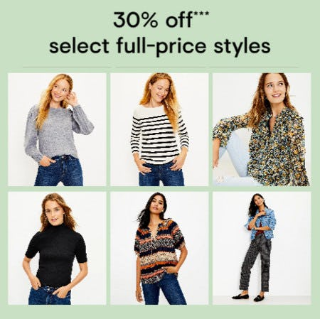 30% Off Select Full-Price Styles from Loft