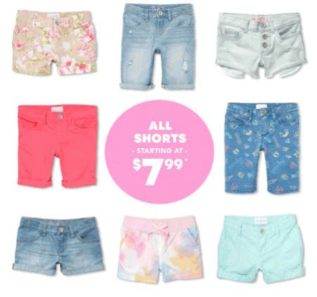 All Shorts Starting at $7.99 from The Children's Place