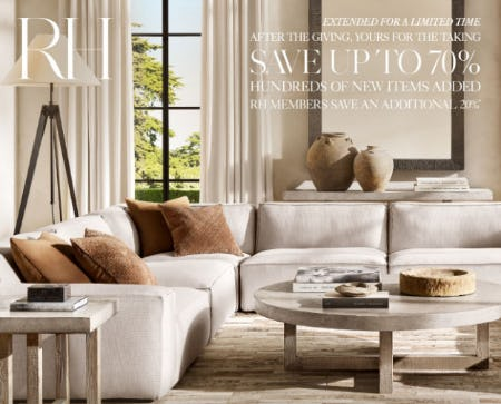 Up to 70% Off Hundreds of New Items from Restoration Hardware