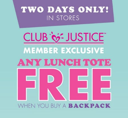 Free Lunch Tote With Backpack Purchase from Justice