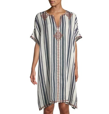 Tory Burch Awning Striped Linen Caftan Coverup from Neiman Marcus