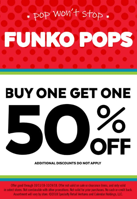 Buy One, Get One 50% Off  FUNKO Pops!