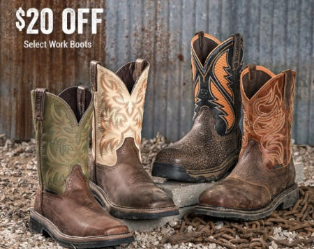 $20 Off Select Work Boots