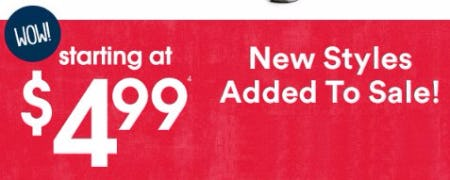 Clearance Starting at $4.99