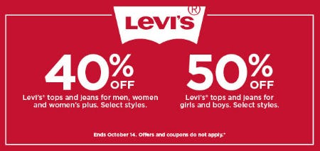Up to 50% Off Levi's Sale from Kohl's