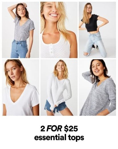 2 for $25 Essential Tops from Cotton On/Cotton On Kids