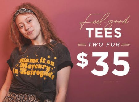Two for $35 Tees from Earthbound Trading Company