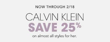 Save 25% Calvin Klein from Bloomingdale's