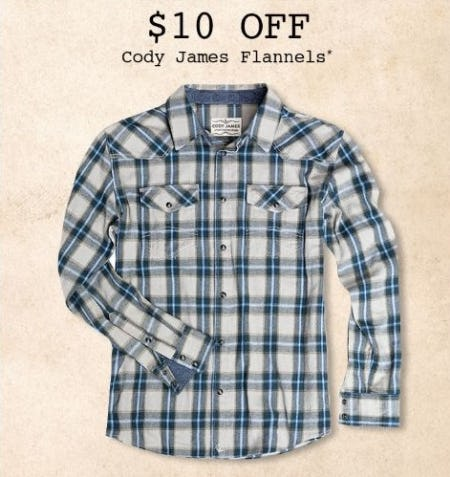 $10 Off Cody James Flannels from Boot Barn