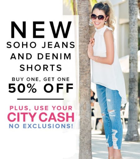 New Soho Jeans And Denim Shorts Buy One, Get One 50% Off from New York & Company