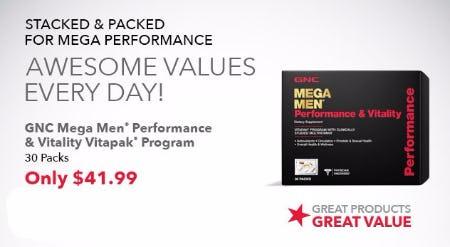 GNC Mega Men Performance & Vitality Vitapak Program Only $41.99