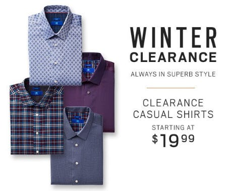 Clearance Casual Shirts Starting at $19.99 from Men's Wearhouse