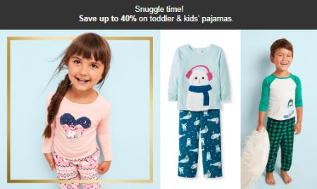 Save Up to 40% on Toddler & Kid's Pajamas from Target