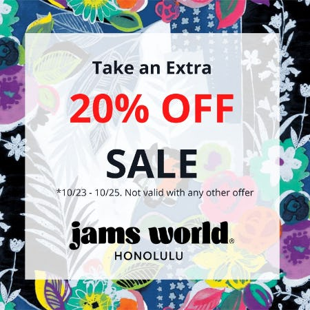 Don't Miss it! Take an Extra 20% OFF SALE from Jams World