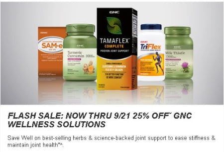 25% Off GNC Wellness Solutions from GNC