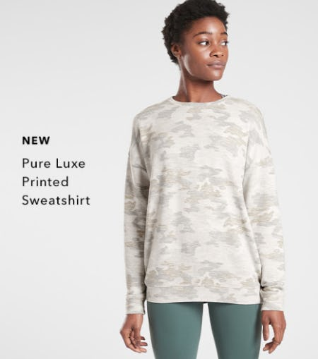 New Pure Luxe Printed Sweatshirt from Athleta