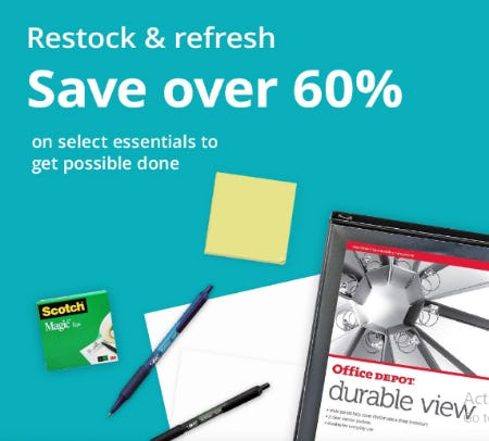 Save Over 60% on Select Office Essentials from Office Depot