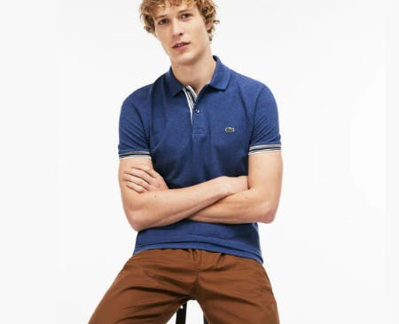 Men's Slim Fit Piped Sleeves Piqué Polo from Lacoste